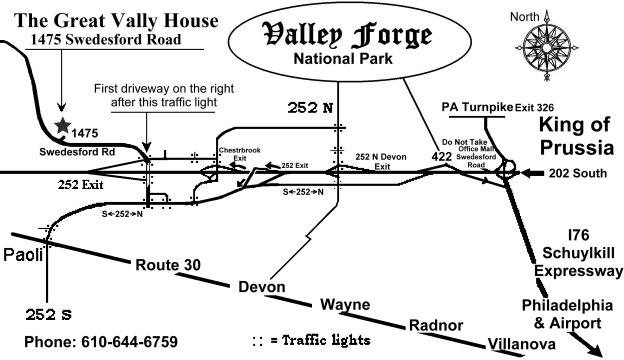 Great Valley House of Valley Forge Bed and Breakfast Directions on york pa mapquest, honey brook pa mapquest, jenkintown pa mapquest, bangor pa mapquest, coopersburg pa mapquest, williamsport pa mapquest, emmaus pa mapquest, radnor pa mapquest, honesdale pa mapquest, glenside pa mapquest, monroeville pa mapquest, chester county pa mapquest, duncansville pa mapquest, broomall pa mapquest, orefield pa mapquest, lansdale pa mapquest, west grove pa mapquest, havertown pa mapquest, media pa mapquest, wilkes-barre pa mapquest,